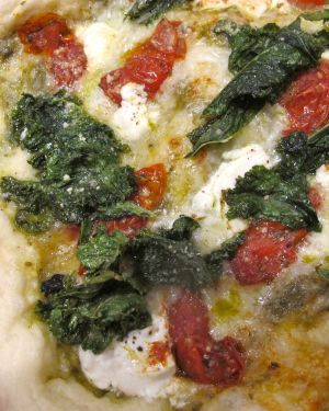 Kale and Mozzerella pizza